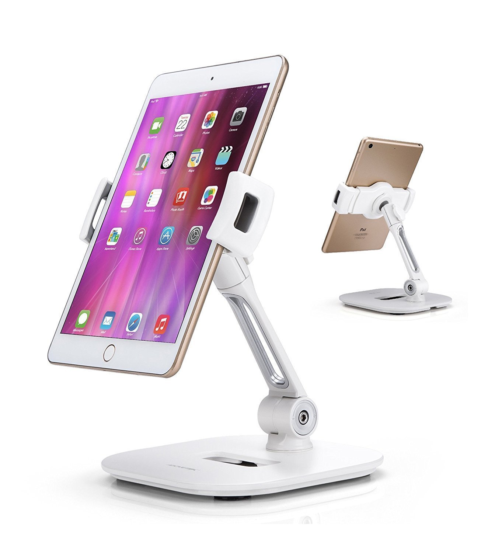 "AboveTEK Stylish Aluminum Tablet Stand, Cell Phone Stand, Folding 360° Swivel iPad iPhone Desk Mount Holder fits 4-11"" Tablets/Smartphones for Kitchen Bedside Office Table POS Kiosk Reception Showroom"