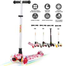 VOKUL 3 Wheel Scooter Kick Scooter for Kids Toddlers Girls & Boys, 4 Adjustable Height, Lean to Steer with 120mm LED Light Up Wheels for Children from 3 to 14 Years Old