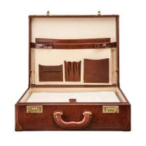 Maxwell Scott Men's Timeless Leather Attache Briefcase - Buroni Tan