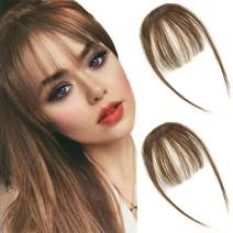 careonline 2PCS Clip in Bangs Real Human Hair Bangs Extensions Remy Hair Air Bangs with Temples Light Chestnut Brown Bangs One Piece Clip in Fringe Hair Extensions for Women