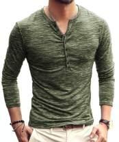 KUYIGO Mens Casual Slim Fit Basic Henley Long/Short Sleeve Fashion Summer T-Shirt