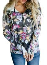 AlvaQ Women Quarter Zip Casual Pullover Sweatshirt Tops with Pockets(5 Colors S-XXL)