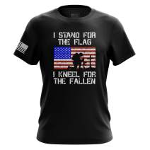 I Stand for The American Flag Kneel for The Fallen Mens T Shirt Printed & Packaged in The USA
