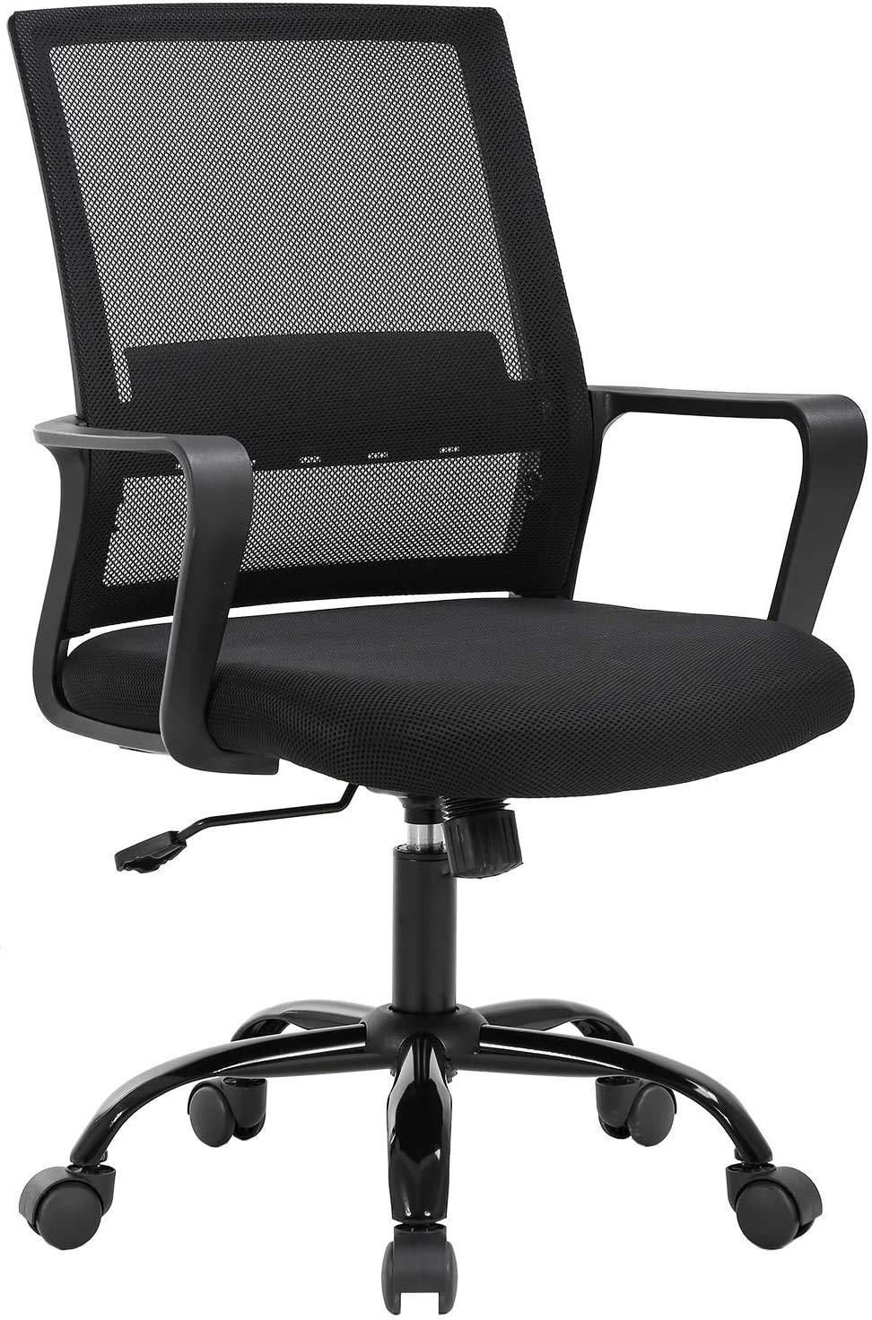 Simple Home Ergonomic Desk Office Chair Mesh Chair, Lumbar Support Modern Executive Adjustable Stool Rolling Swivel Chair for Back Pain, Best Chic Modern Home Computer Office Desk Chair - Black