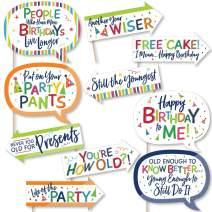 Funny Cheerful Happy Birthday - Colorful Birthday Party Photo Booth Props Kit - 10 Piece