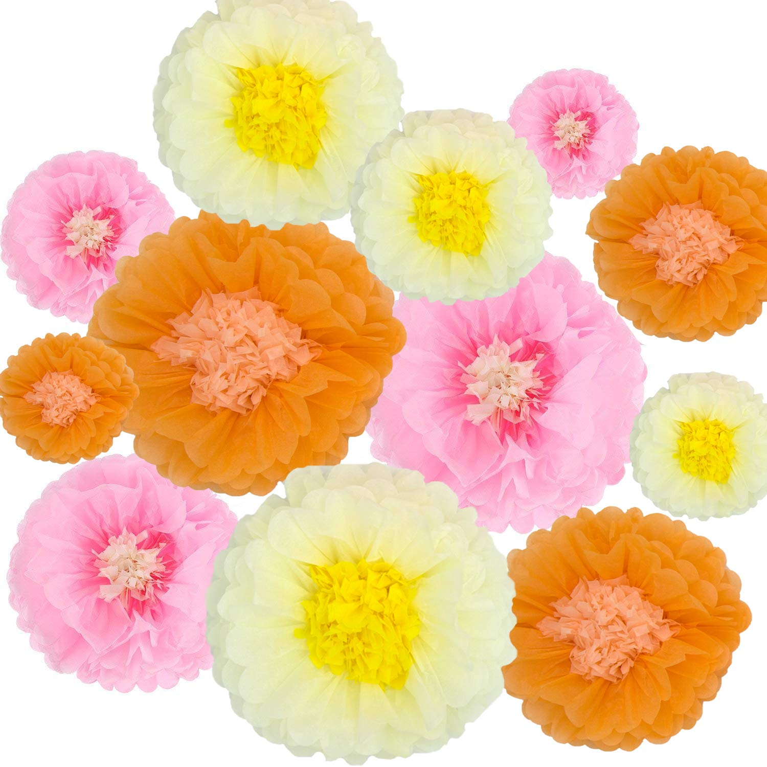 Paper Flowers Decorations,12 Pcs Tissue Paper Flower DIY Crafting for Wedding Backdrop Nursery Wall Baby Shower Decoration,Orange