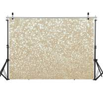 WOLADA 7x5ft Ivory Gold Bokeh Backdrops for Photography Gold Stars Sparkle (No Glitter) Background Newborn Baby Birthday Wedding Party Photo Backdrop Studio Props 11821