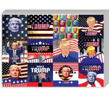 """Creanoso Trump President Collectors Stickers (5-Sheet) – Total 60 pcs (5 X 12pcs) Individual Small Size 2.1"""" x 2"""", Unique Personalized Themes Designs, Flat Surface DIY Decoration Art Decal for Kids"""