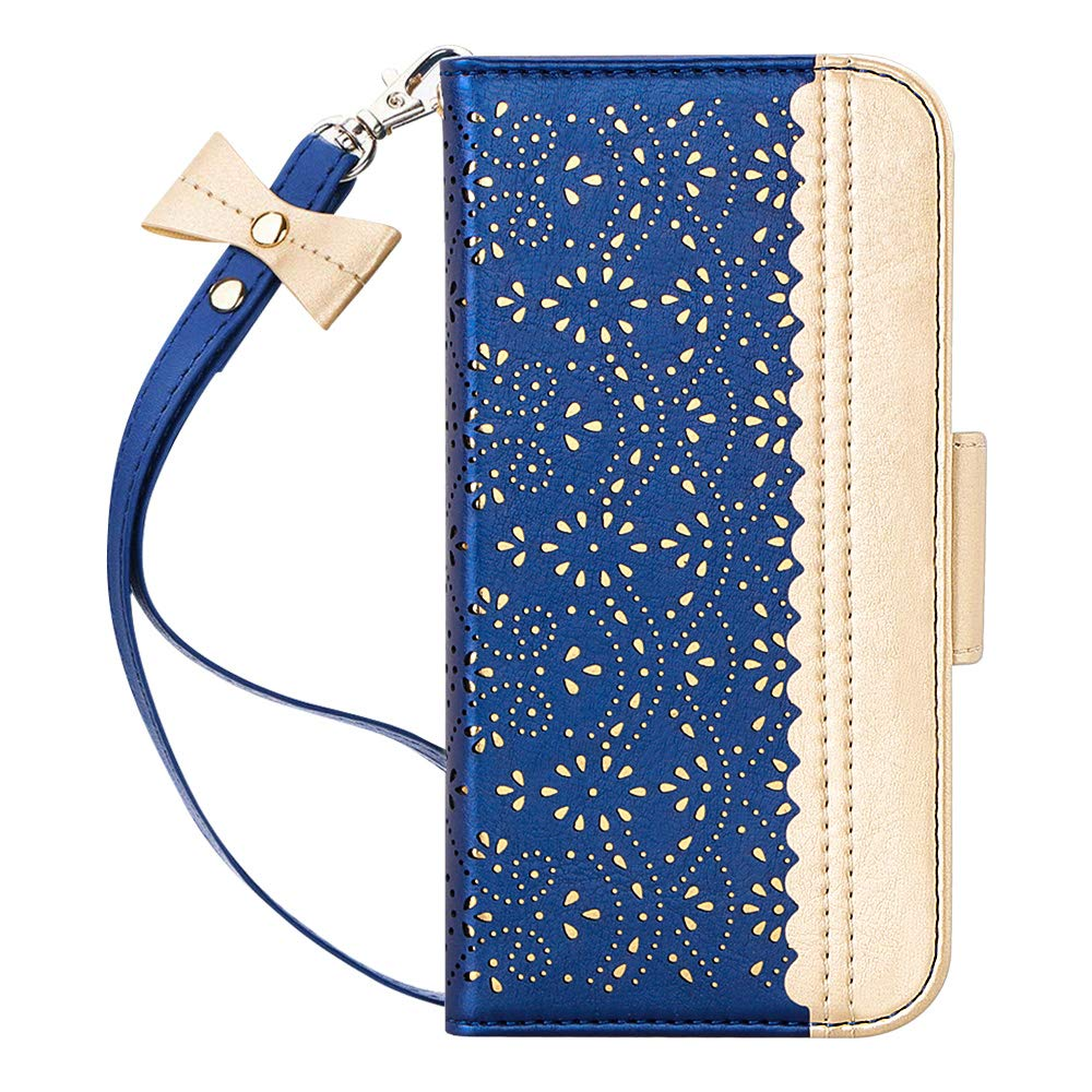 """WWW iPhone 11 Pro Case,iPhone 11 Pro Wallet Case,[Luxurious Romantic Carved Flower] Leather Wallet Case with [Inside Makeup Mirror] [Kickstand Feature] for iPhone 11 Pro 5.8"""" 2019 Navy Blue"""