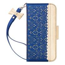 """WWW iPhone 11 Case (6.1 inch),iPhone 11 Wallet Case, [Luxurious Romantic Carved Flower] Leather Wallet Case with [Inside Makeup Mirror] [Kickstand Feature] for iPhone 11 6.1"""" (2019) Navy Blue"""