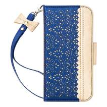 "WWW iPhone 11 Pro Case,iPhone 11 Pro Wallet Case,[Luxurious Romantic Carved Flower] Leather Wallet Case with [Inside Makeup Mirror] [Kickstand Feature] for iPhone 11 Pro 5.8"" 2019 Navy Blue"