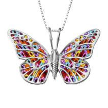 "925 Sterling Silver Large Butterfly Necklace for Women Colorful Handmade Polymer Clay Pendant Handcrafted Jewelry, 16.5"" Chain"