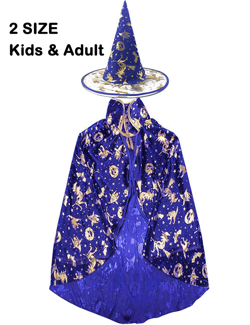 Halloween Witch Costumes Hat Wizard Cloak Cape for Boys Girls Womens Pumpkin Role Play Costume