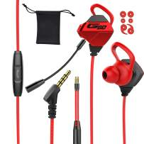 Tititek Gaming Earphone with Dual Microphones, Stereo Wired Headphones for Computer Gamer in-Ear Headphones with Detachable Mic E-Sport Earphone with 3.5mm Jack (Red)