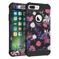 MAXCURY Flower Series Three Layer Heavy Duty Hybrid Sturdy Armor High Impact Resistant Protective Cover Case for iPhone 6 Plus/iPhone 6s Plus/iPhone 7 Plus/iPhone 8 Plus in 5.5 Inch (Leaf/Black)