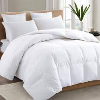 TEXARTIST California King Size White Comforter Soft Quilted Down Alternative Duvet Insert with Corner Tabs, All Season, 4D Spiral Fiber, Machine Washable-96x104 inches,White