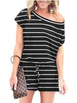 ANRABESS Women's Summer Short Sleeve Striped Jumpsuit Rompers with Pockets Short Pant Rompers Playsuit