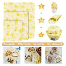 Reusable Food Wrap, Reusable Beeswax Food Wrap 3 pcs with 3 Sizes,Eco Friendly Reusable Beeswax Wraps, Bees Wax Food Wrappers Bonus with 3 Produce bags, Odor Free, Zero Waste (Honeybee Pattern)
