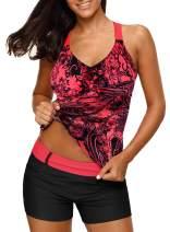Dearlove Women's Blouson Floral T-Back Push Up Tankini Top S-XXXL