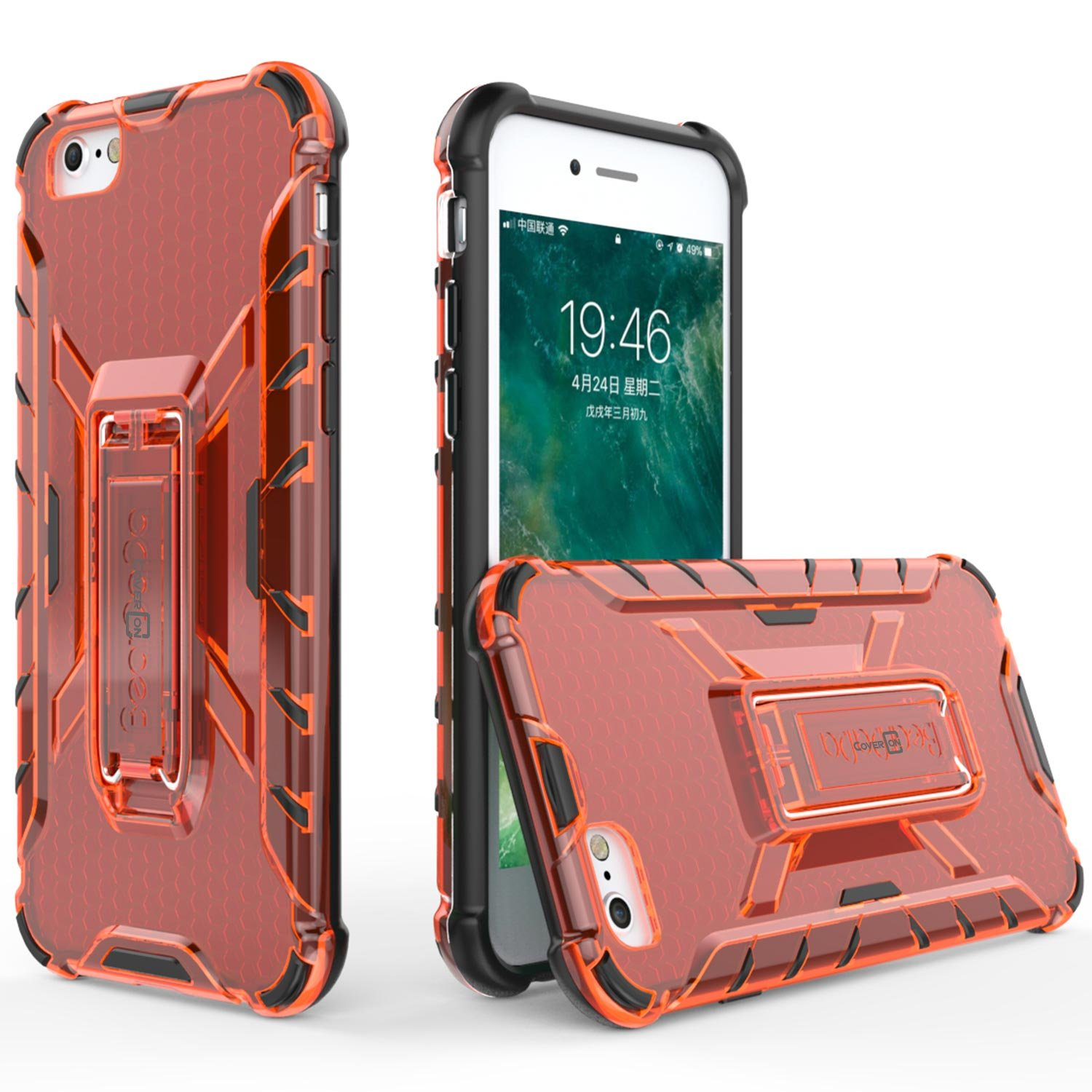 CoverON [Hive Series] Fit iPhone 8 Kickstand Case, iPhone 7 Kickstand Case, Slim Kickstand Phone Cover with See Through Hard Back and TPU Bumpers - Red with Black Bumpers