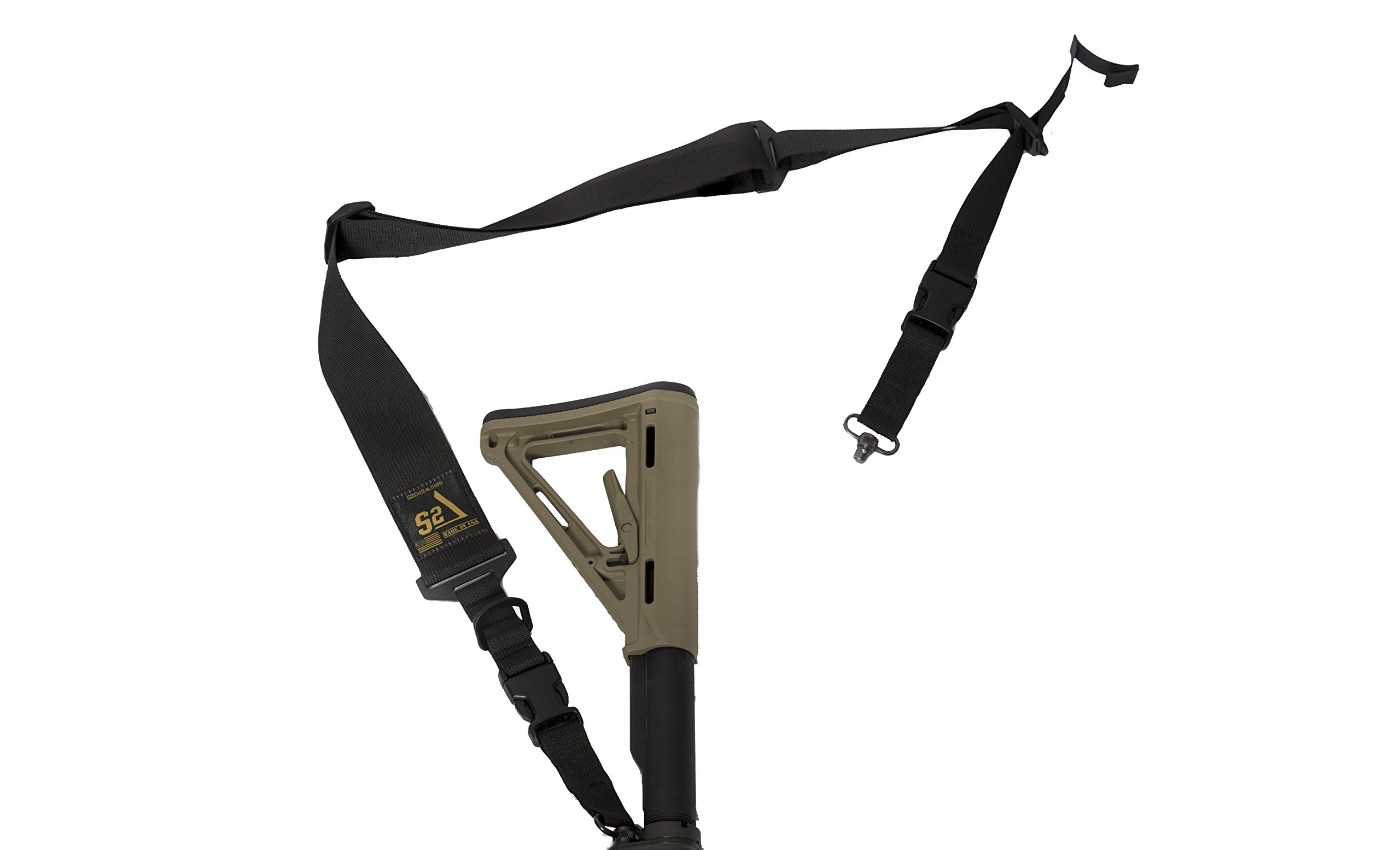 "S2Delta - USA Made Premium 2 Point Rifle Sling, Fast Adjustment, Modular Attachment Connections, Comfortable 2"" Wide Shoulder Strap"