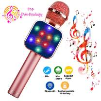 ShinePick Wireless Bluetooth Karaoke Microphone with Controllable LED Lights, 5 in 1 Portable Handheld Karaoke Mic Speaker Machine, Home KTV Player Christmas Birthday Party for Android/iPhone/PC(Pink)