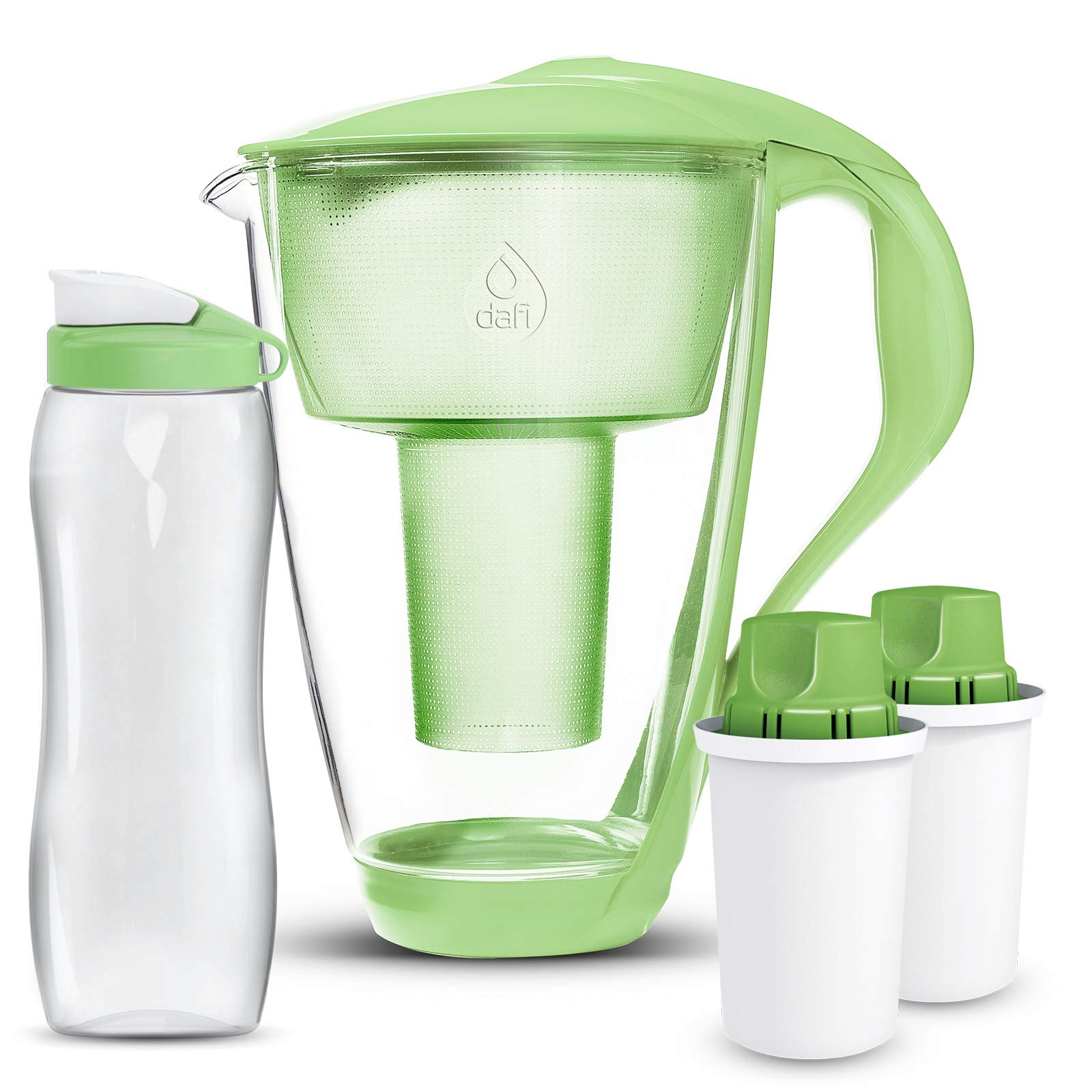 Dafi Alkaline UP Crystal Glass Water Pitcher 8 cups LED - made from Borosilicate Glass - Set with 2 Alkaline UP Water Filters and FREE 24 fl oz Sport Water Bottle (Green)