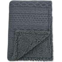 BlueSnail Toddler Knitted Blanket with Plush Shepra Fleece Layer for Boys and Girls (Dark, 30W x 40L)