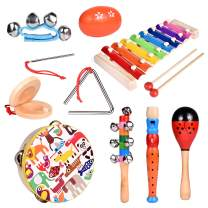 FUN LITTLE TOYS Toddler Musical Instrument Toy Set-12Pcs Wooden Percussion Toys Including Tambourine, Shaker Egg, Piccolo, Maracas and More for Kids Preschool Educational, Music Party Supplies