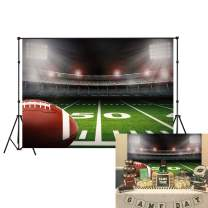 LB 7x5ft American Football Backdrop Vinyl Super Bowl Sports Stadium Green Grass Backdrops for Photography Kids Birthday Party Cake Table Banner Photo Booth Studio Props