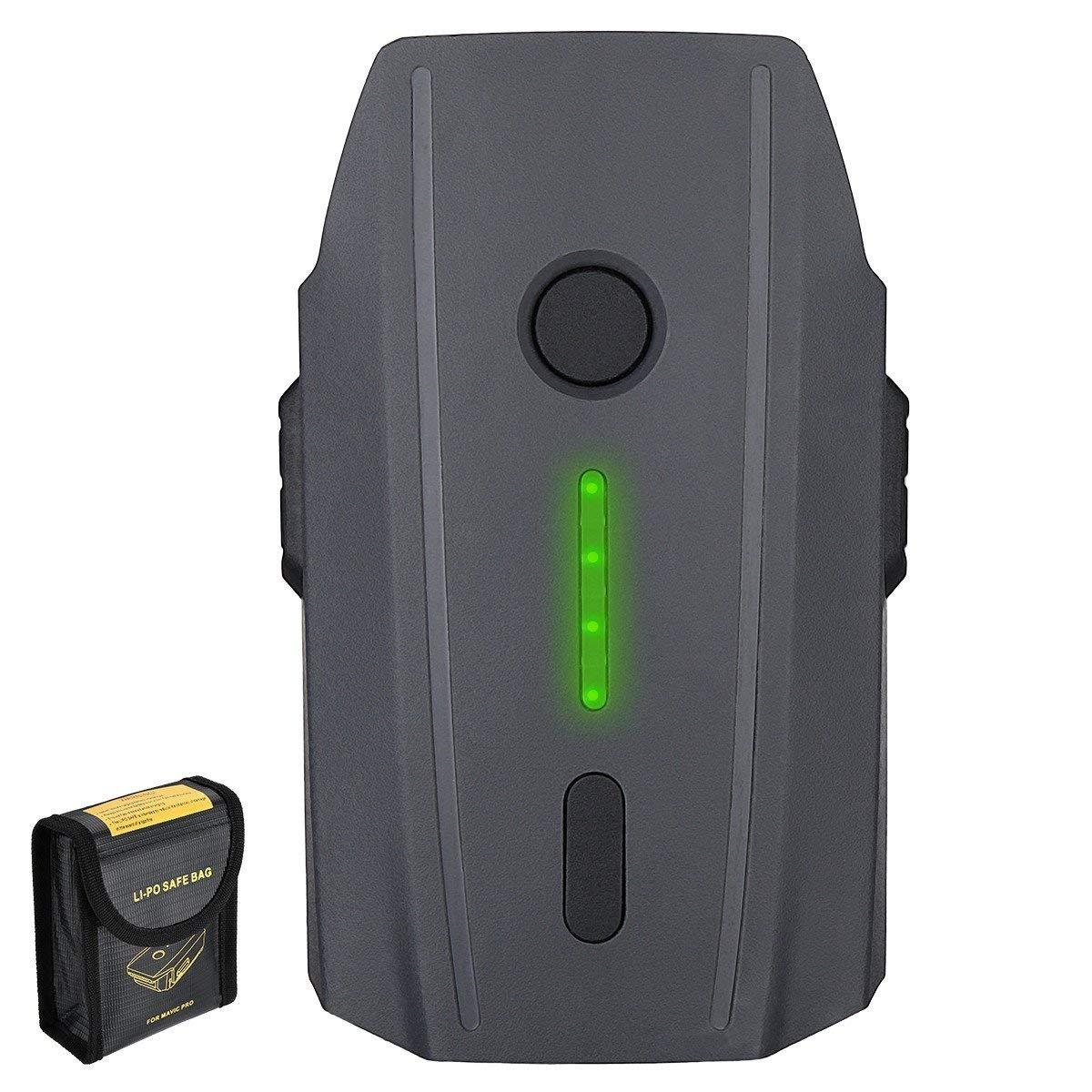 Mavic Pro Battery, Powerextra 11.4V 3830 mAh LiPo Intelligent Flight Battery + Battery Safe Bag Replacement for DJI Mavic Pro & Platinum & Alpine White Drone (Not Fit for Mavic 2)