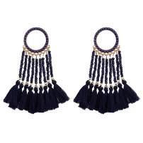 Tassel Dangle Drop Earrings Handmade Bohemian Ethnic Statement Seed Beaded Waterfall Shape Earring For Women Girls