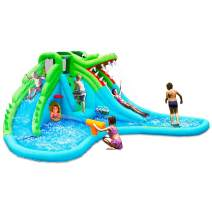 Costzon Inflatable Water Park, Giant 7 in 1 Crocodile Bounce House w/Two Water Slides, Climb Wall, Basketball Rim, Tunnel, Kids Water Pool, Including Carry Bag, Hose, Repair Kit (Without Blower)