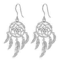 INFUSEU Sterling Silver Lotus Flower Dream Catcher Dangle Earrings for Women Charms Drop Earring