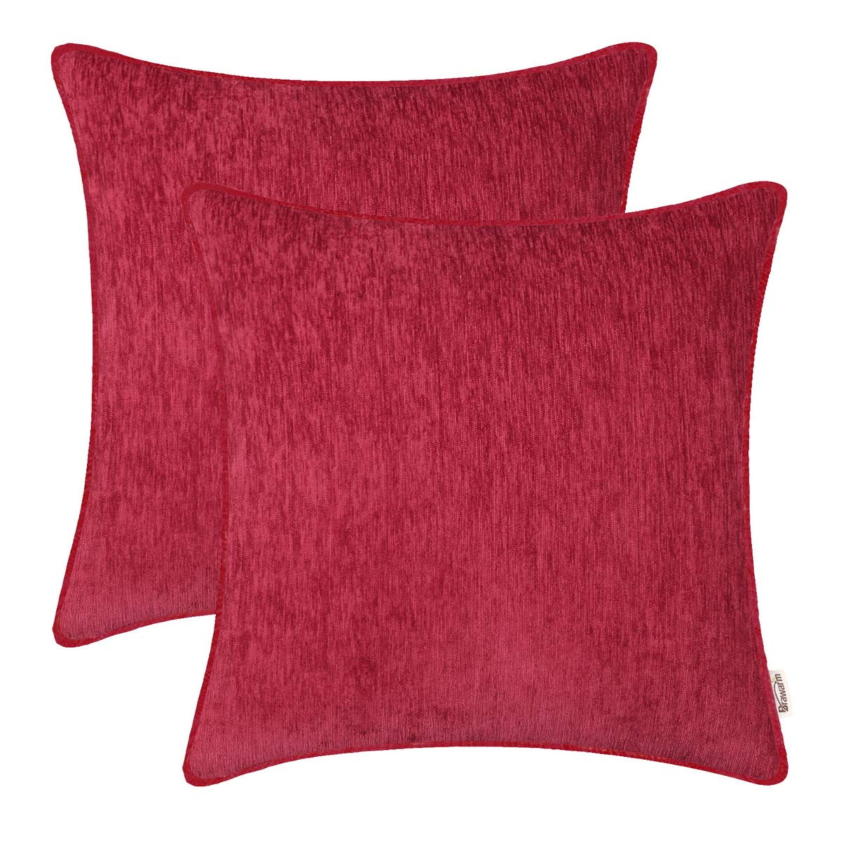 BRAWARM Pack of 2 Cozy Throw Pillow Covers Cases for Sofa Couch Home Decoration Solid Dyed Striped Soft Chenille with Piping 16 X 16 Inches Burgundy