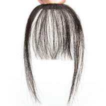"""2Pcs Clip in Bangs Hair Extensions Thick Full Neat Bangs Fringe Hair Extension 8"""" One Piece Clip on Front Bangs Hairpiece"""