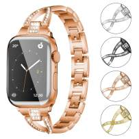 YEAPREE Bling Watch Bands Compatible with Apple Watch Band 44mm 42mm 40mm 38mm for Women , Metal Wristband Stainless Steel Strap for iWatch Series 6/5/4/3/2/1/SE