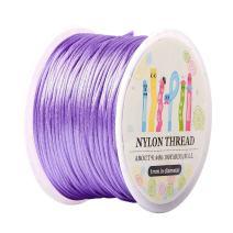 Pandahall 1 Roll 1mm x 100yards Lilac Rattail Satin Nylon Trim Cord Chinese Knot