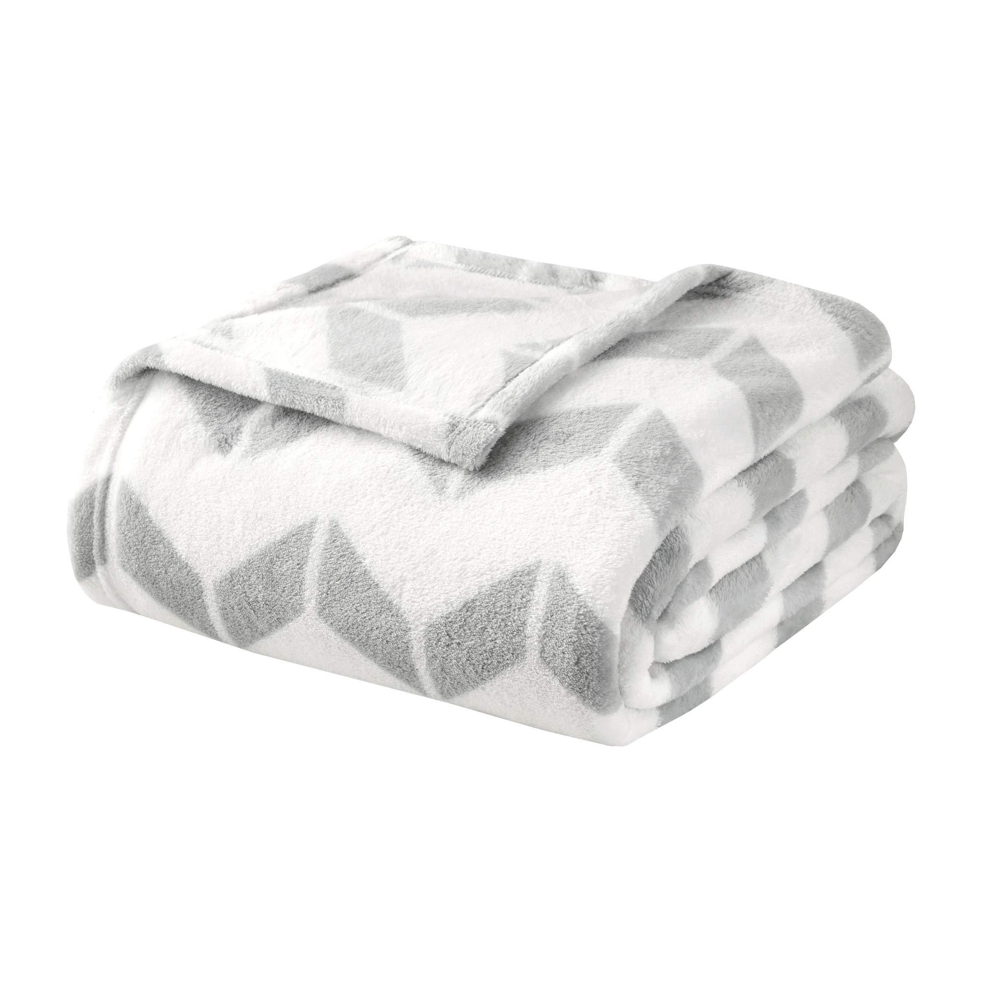 Intelligent Design  Chevron Luxury Plush Blanket Grey 90x92 Full/Queen Size Chevron Premium Soft Cozy Ultra Soft Microfiber For Bed, Couch or Sofa