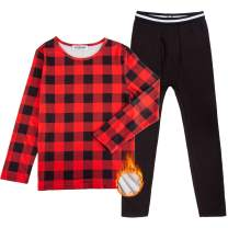 GAZIAR Boys' Thermal Underwear Long John Set Soft Black Fleece Lined Tops and Bottoms for Kids Boys 2 PCS 4Y-14Y
