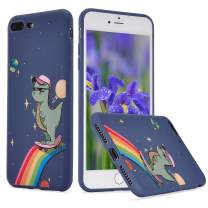 LuGeKe Dinosaur Phone Case for iPhone 6 Plus/iPhone 6s Plus,Space Skating Patterned Case Cover,Soft TPU Cover Flexible Ultra Slim Anti-Stratch Bumper Protective Boys Phonecase(Outer Space Skating)