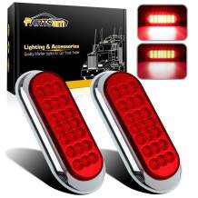 """Partsam 2 Pcs Red Oval Oblong 6-1/2"""" Surface Mount LED Brake Stop Turn Tail Light Trailer Truck RV Sealed, Faceted Trailer Taillights w Red Reflector Flange Mount w Chrome Bezels"""