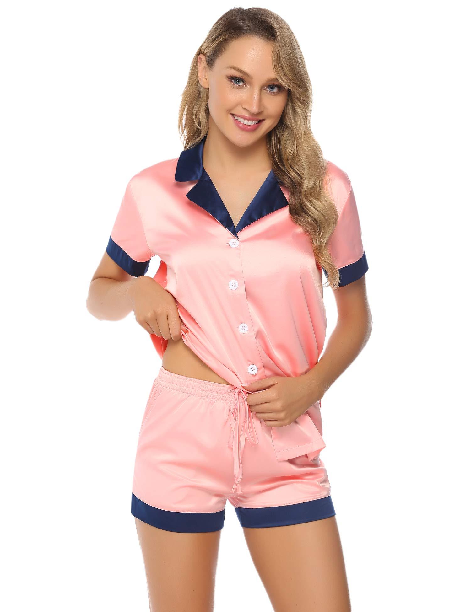 Hawiton Women's Stain Pajama Set Short Sleeve Button-Down Silky Pyjama Sleepwear XL Pink