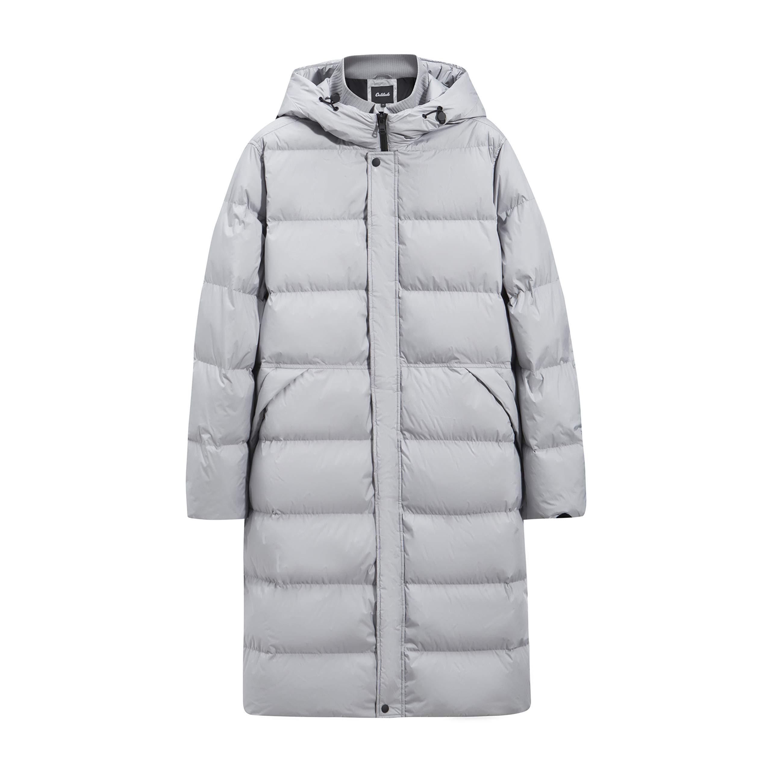 Caldado Men's Hooded Down Jacket Winter Activities Winterproof Long Coat