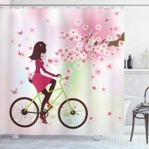 """Ambesonne Feminine Shower Curtain, Girl on Bike Passing by Cherry Trees Blooms Spring Nature Seasonal Illustration, Cloth Fabric Bathroom Decor Set with Hooks, 70"""" Long, Green Pink"""