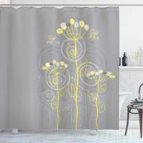 """Ambesonne Grey and Yellow Shower Curtain, Under The Sea Inspired Flowers Abstract Swirls Backdrop, Cloth Fabric Bathroom Decor Set with Hooks, 84"""" Long Extra, Grey Yellow"""