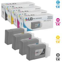 LD Compatible Ink Cartridge Replacement for Canon PFI-107 (Black, Cyan, Magenta, Yellow, 4-Pack)