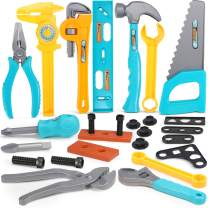 Geyiie Kids Tool Set, 26 Pieces Durable Construction Tool Set for Toddlers, Pretend Play Toy Tools for Boys, Girls, Age 3 4 5 6 7 Year Old Children