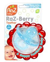 RaZbaby RaZberry Silicone Baby Teether Toy - Berrybumps Soothe Babies Sore Gums - Infant Teething Toy - Hands Free Design - BPA Free - Easy-to-Hold Design - Teething Relief Pacifier - Light Blue