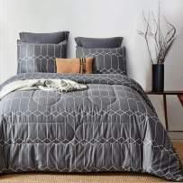 ATsense Comforter Set Twin, All Season 3-Piece 100% Cotton Fabric, Soft Microfiber Overfilled Bedding, Lightweight Reversible Duvet Insert (Charcoal Grey, SG004)
